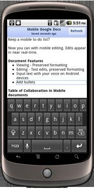 Google Mobile Docs